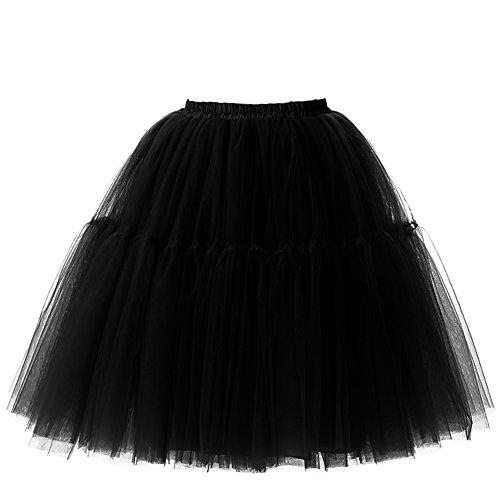 Izanoy Damen Vintage Tüllrock 5 Lage Prinzessin Falten Rock Tutu Petticoat Ballettrock Unterrock Pettiskirt Schwarz One Size/Einheitsgröße