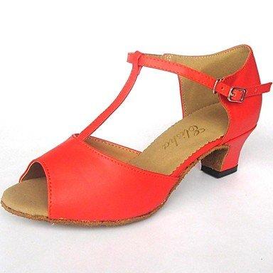 XIAMUO Latin anpassbare Damen Sandale Leder mit Buckie Dance Schuhe (weitere Farben) Blau