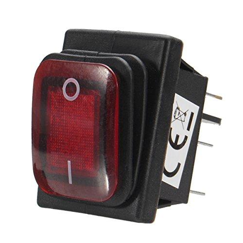 MYAMIA on/Off 12V 16A 6 Pin LED Single Rocker Kippschalter Wasserdichter Spst Für Auto-Boot-Rot