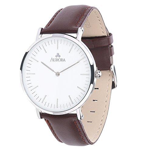 Aurora Quarz Armbanduhr elegant Quarzuhr Uhr modisch Zeitloses Design klassisch braun Leder