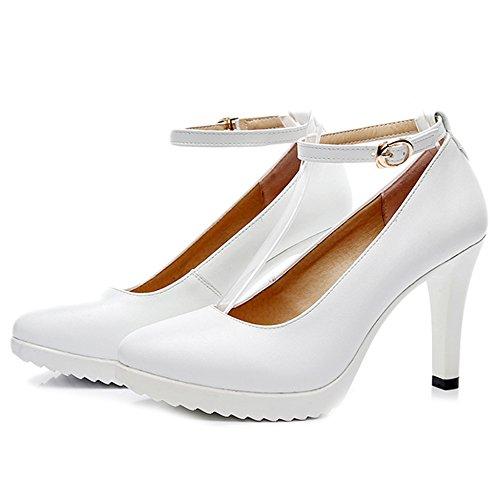 High Heels Mode Frauen Stilettos Geschlossene Zehe Pumps Licht Knöchelriemen Arbeitsschuhe Für Damen Offizielle OL Nachtclub Mary Jane Schuhe,White-EU:38/UK:5.5