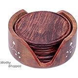 Worthy Brown Beautiful Wooden Sheesham Lotus Coaster Set With Brass Engraving