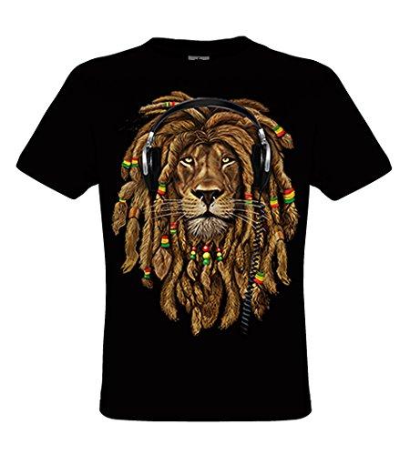 DarkArt-Designs Rasta DJ - Jamaica Löwe mit Kopfhörern T-Shirt für Damen und Herren - Funmotiv Shirt Musik Lion of Judah Biker Fun Party&Freizeit Lifestyle regular fit, Größe XXXL, schwarz