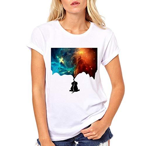 ZCYTIM Verano Estilo Camiseta Mujeres Pintura Universo Tops Elefante Impreso Blanco Ropa de Mujer