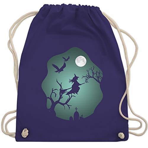 Halloween - Hexe Mond Grusel Grün - Unisize - Lila - WM110 - Turnbeutel & Gym (Baum Geist Kostüm)