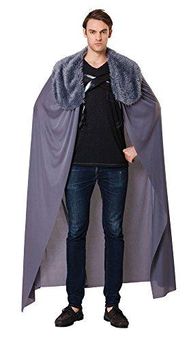 Mittelalterlicher Kostüm König Cape - Bristol Novelty AC088 Cape Kostüm für Männer, Grau, 42-44-Inch