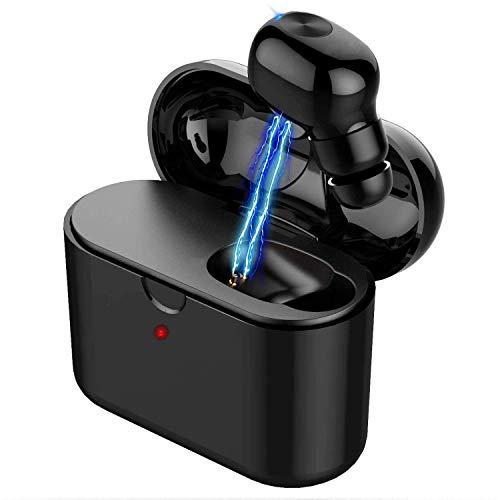 Écouteurs Bluetooth Compatible avec airpods sans Fil,Écouteur TWS Antibruit Mini Casque Auriculaires avec Micro Intégré et Boîte de Charge Port Wireless Earbud Oreillette(Oreille Unique)