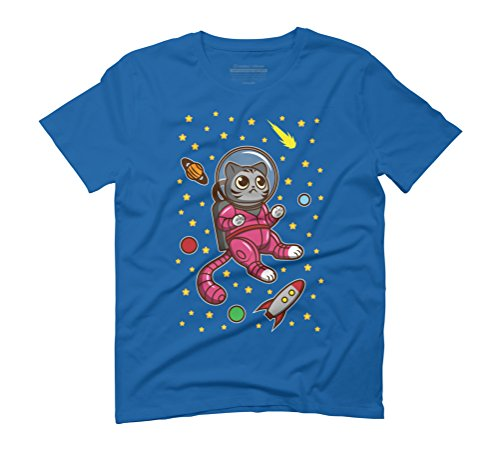 Kitty Cat in Space Men's Graphic T-Shirt - Design By Humans Royal Blue