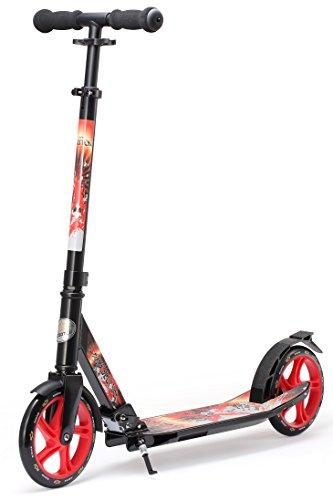 Bikestar 205mm Prime De Luxe Aluminium Trottinette Patinette A Couleur Noir Rouge