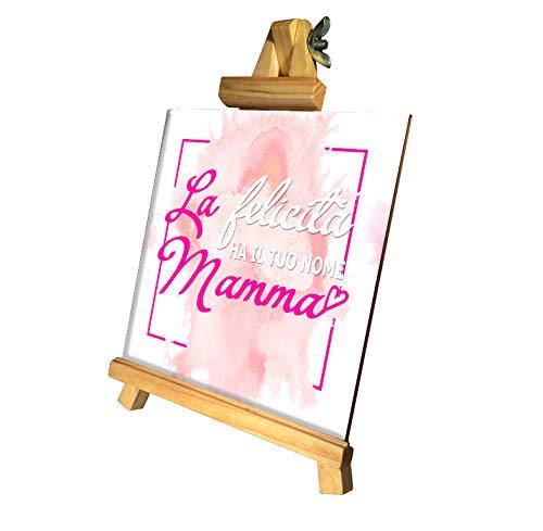 quickgadget Idea Regalo Mattonella in Ceramica con cavalletto in Legno Festa della Mamma, Compleanno, La Felicità ha Il Tuo Nome Mamma