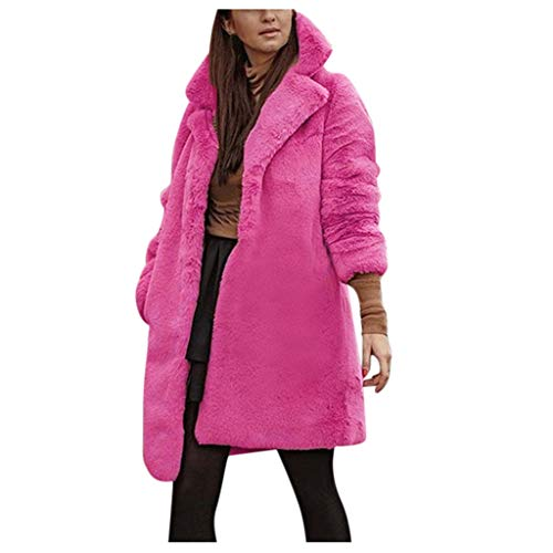 AmyGline Damen Herbst Winter Fleece Jacke Parka Mantel Teddy Bär Kunstpelz Warme Winterjacke Plüschmantel (Leder Jacke Teddy Bär)