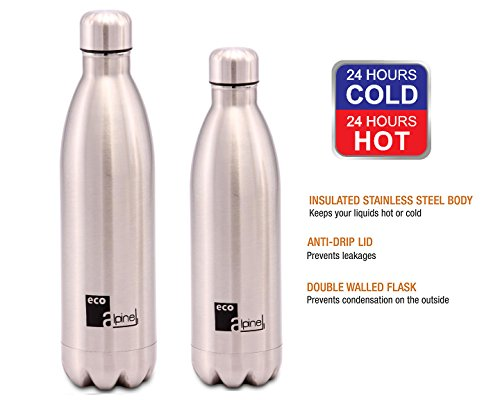 Eco Alpine Stainless Steel Hot and Cold Thermoflask Bottle Combo - 750 ML & 1000 ML  available at amazon for Rs.1149