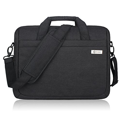 Zikee 15-15.6 Inch Multifunctional Laptop Protective Bag, Water Resistant 360° Shock-proof Laptop Shoulder Messenger Case with Handle , for Business, Traveling, College and Office (Black)