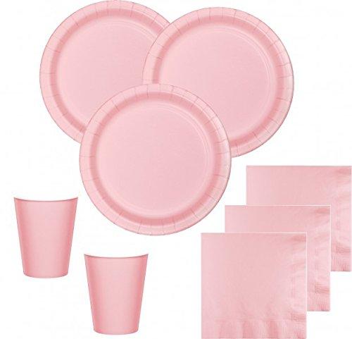 52 Teile Party Deko Set Pastell Rosa für 16 Personen