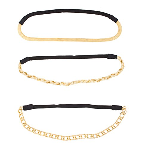 LUX Zubehör Metall Kette Link Woven Mesh Stretch Stirnband Head Band Set (3 PC) (Metall-mesh-bogen)