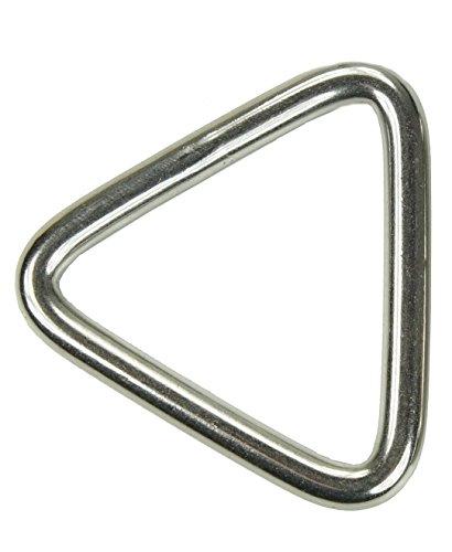 10x KAMERO Edelstahl Ring, dreieckige Form, 5x30mm, Triangel, V4A, rostfrei
