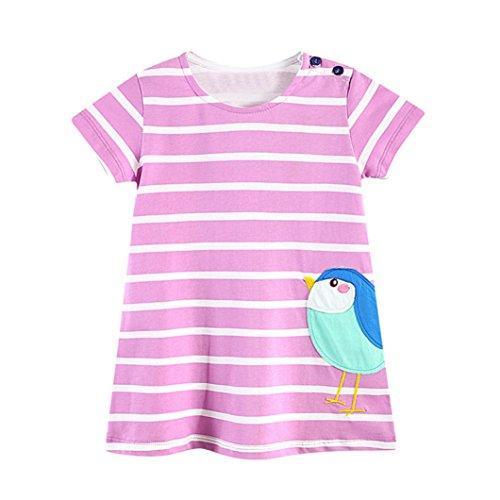 JERFER Kleinkind Baby Kind Mädchen Cartoon Vogel Stickerei Kleid Streifen Kleid Outfit Kleidung