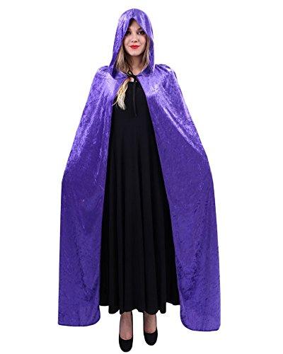 Kapuze Karneval Fasching Cape Kostüm Cosplay Hexen Robe Violett2 (Günstige Vampir Kostüme Für Frauen)