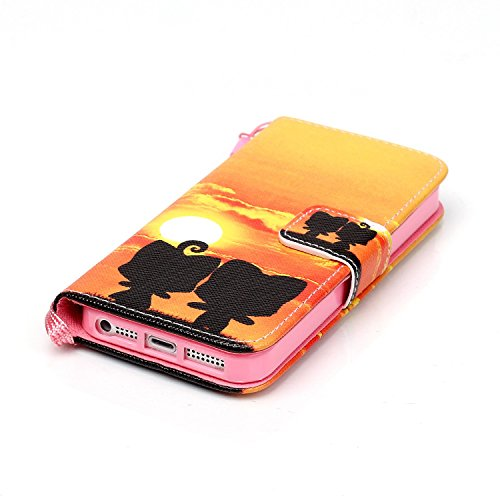 iPhone 5C Hülle Leder,iPhone 5C Hülle Silikon,iPhone 5C Hülle Flip Case,iPhone 5C Cover,EMAXELERS iPhone 5C Leder Handy Tasche Wallet Case Flip Cover Etui,PU Leder Flip Wallet Hülle für iPhone 5C,iPho Skull 6