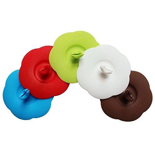 Lot de 2 couvercles en silicone Réutilisable Plum Fleur Mug Boisson Coque avec support pour Cuillère en forme de cœur, couleur aléatoire