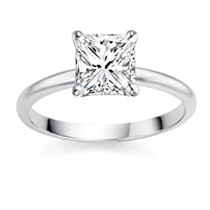 0.26 Carat D/VS1 Princess Certified Diamond Solitaire Engagement Ring in 18k White Gold