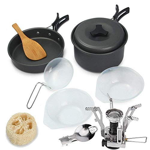 Tanburo Camping Cookware Mess Set Lightweight Bowl Non-stick Pot Kit Including Gas Stove in Free Mesh Bag 10 Pcs Portable and Durable Outdoor Cooking Equipment for 1-2 people Backpacking, Hiking and camping
