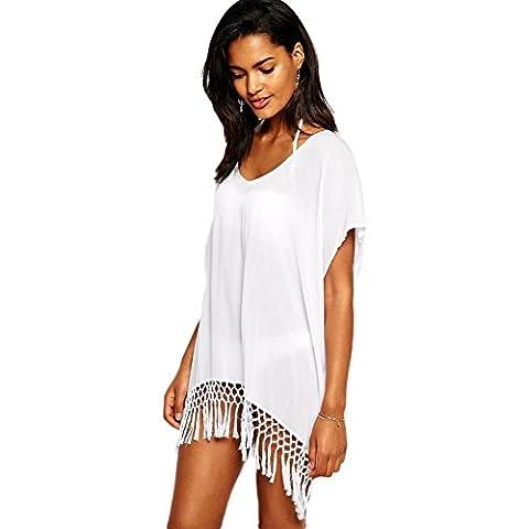 Plus Size Bianco manica corta con Kimono Crochet Fringe spiaggia caftano Smock Spiaggia Cover Up Taglia 12–14