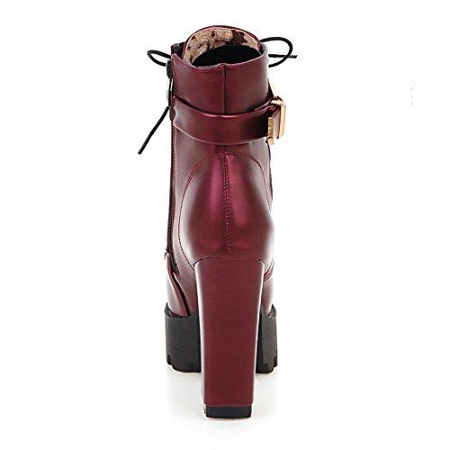 et UH Chaussures Plateforme Bout Bottes Femmes et Foufurre avec Boucle Elegantes Haute avec Chaud à Bordeaux Lacet Talons Zip Rond Bloc rrdv7qSw5