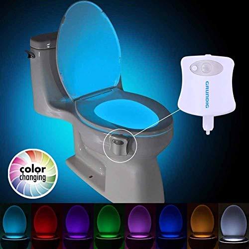 Bakaji Home Luce LED per WC Tazza Gabinetto Bagno con Sensore di Movimento Illuminazione Water RGB 7 Colori e Funzione Cambio automatico