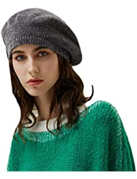 Baijiaye Boina Francés de Mujer Invierno Vasco Boinas de Lana Gorro Beret  Beanie Cálido Sombrero de a65748da254