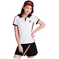 B2KEY®Traje de Ropa Deportiva de Verano Camiseta de Manga Corta para Mujer Falda Corta para Mujer Falda de Golf Falda de Tenis Falda de bádminton Falda Plisada (Manga Corta y Falda) (3,XL)