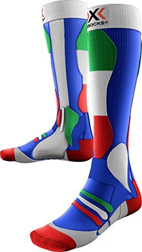 X-Socks Herren Ski Patriot Skistrumpf, Italy Blue Background, 45/47 (Compression Smart Sock)