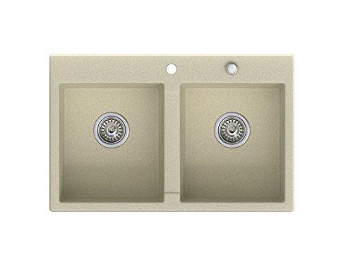 Granitspüle beige, 2-Becken, Drehexcenter + Siphon, Spülbecken, Küchenspüle, Schrankbreite ab 80 cm