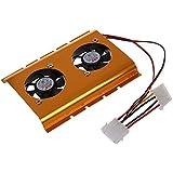"""TOOGOO (R) 3,5 """"Unidad de Disco Duro HDD Doble Ventilador de Refrigeracion Refrigerador Oro Tono para PC Escritorio"""