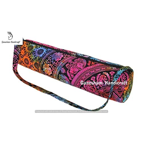 Indian Handmade Ethnic Bohemian Gym Exercise Sports Cotton Unisex Cross Body Boho Hobo Full Zip Tapestry Yoga Mat Carrier Bag with Adjustable Shoulder Strap -