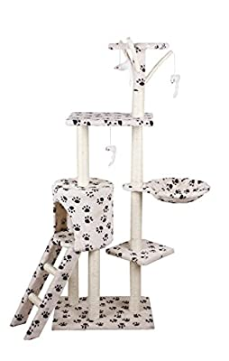 D2B Cat Tree Scratching Post Scratch Activity Center Scratcher Pole Bed Toys CAT001 (Beige with Paw)