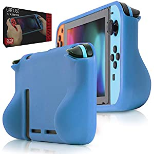 Orzly Comfort Grip Case for Nintendo Switch – Protective Back Cover for use on The Nintendo Switch Console in Handheld Gamepad Mode with Built in Comfort Padded Hand Grips – BLAU