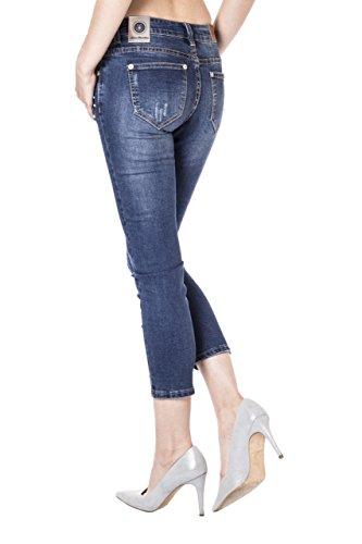Blue Monkey Damen Skinny 7/8 Jeans Pearl 3773 Blau