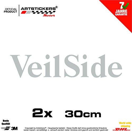 2 x Aufkleber, VEILSIDE 30cm SILBER ( IN 15 FARBEN) Decal Car Window Vinyl Sticker + BONUS 1 STK SPILARTS® ARM30 (Veilside Aufkleber)