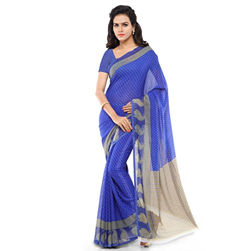 Anand Sarees Faux Georgette Printed Saree with Blouse Piece 1168.P_Blue and Beige  available at amazon for Rs.299