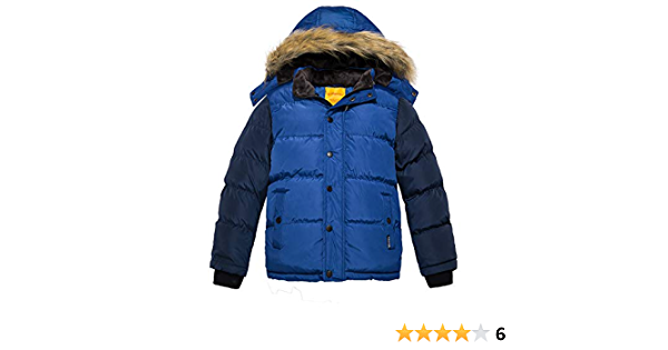 Wantdo Giacca Caldo Invernale Antivento Cappotto con Cappuccio Staccabile Parka Casual in Cotone Capispalla da Esterno Imbottito Bambino