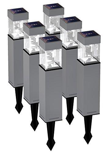 Duracell Solar LED Außenleuchte aus Glas und gebürstetem Edelstahl mit Erdspieß im 6-er Vorteilspack, 5 L, hellweiß GL004NT6DU