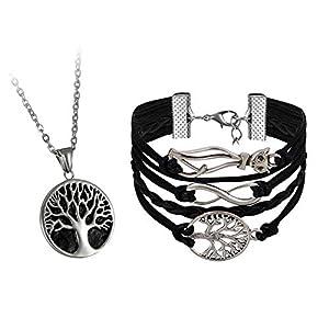 Oidea Herren Anhänger Edelstahl mit Halskette Vintage Lebensbaum Anhänger 55cm Kette, schwarz Silber