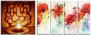 eCraftIndia Lord Ganesha Tea Light Holder & 4 Panel Decorative Flowers Canvas Painting C