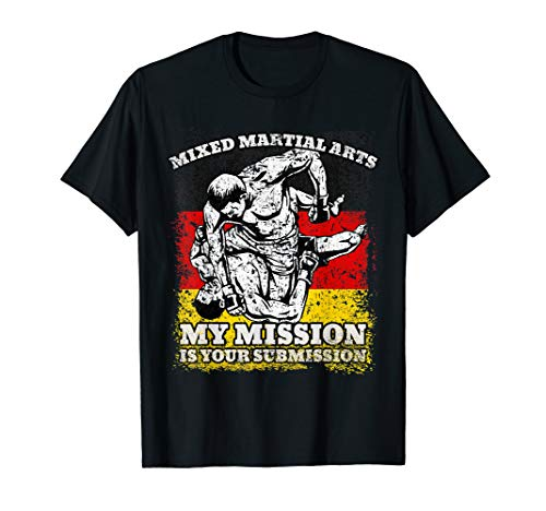Mixed Martial Arts German Flag Distressed MMA Submission  T-Shirt -