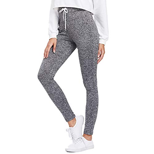 SIOPEW Hosen Frauen-beiläufige Taschen-beiläufige elastische Hosen-Längen-Hosen Sweatpants-Hosen Overalls Röcke Shorts Strumpfhosen Sweatpants (Grau, XL) -