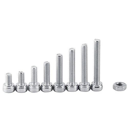 340Pcs Vis Boulon Hexagonale à Tête Cylindrique en Acier inoxydable 304, M3 x 5/6/8/10/12/14/16/18/20mm