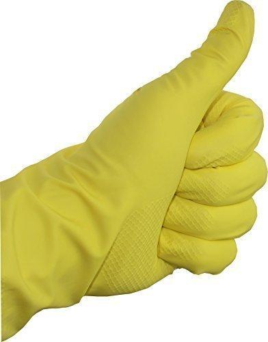 12 Paar Gummihandschuhe Latex baumwollgefüttert gelb Haushaltshandschuhe Handschuhe Medi-Inn (L)