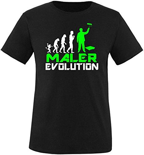 EZYshirt® Maler Evolution Herren Rundhals T-Shirt Schwarz/Weiss/Neongr