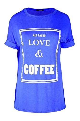 Oops Outlet Damen ALLE I NEED LOVE & COFFEE Bedruckt Stretch überdimensional Baggy Kleid T-Shirt Oberteil Übergröße EU 36-50 Love & Coffee Königsblau